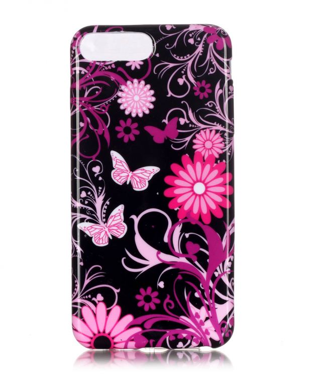 Iphone 7/8 Plus - Mjukt Mobilskal - Blommor & Fjärilar -TPU