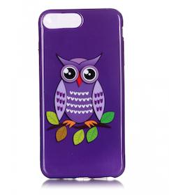 Iphone 7/8 Plus - Mjukt Mobilskal - Uggla - Lila  -TPU