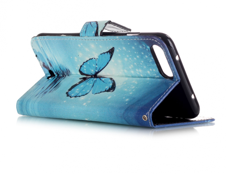 Iphone 7/8 Plus -Plånbok - Blå Fjäril - Hav