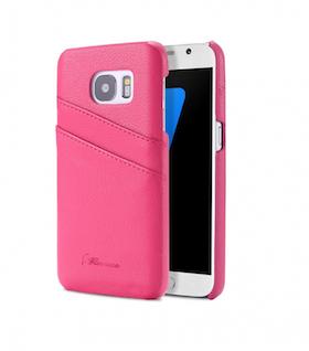 Samsung Galaxy S7 Skal -Plånbok- Vaxat Läder - Vintage - Rosa