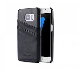 Samsung Galaxy S7 Skal -Plånbok- Vaxat Läder - Vintage - Svart