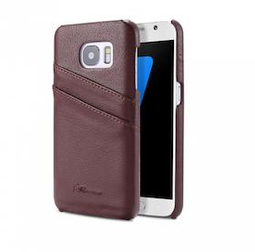Samsung Galaxy S7 Skal -Plånbok- Vaxat Läder - Vintage - Brun