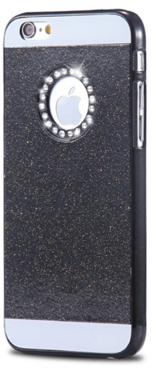 Glitter Skal - Iphone 6/6S  - Gnistrande Stenar - Lyx -Svart
