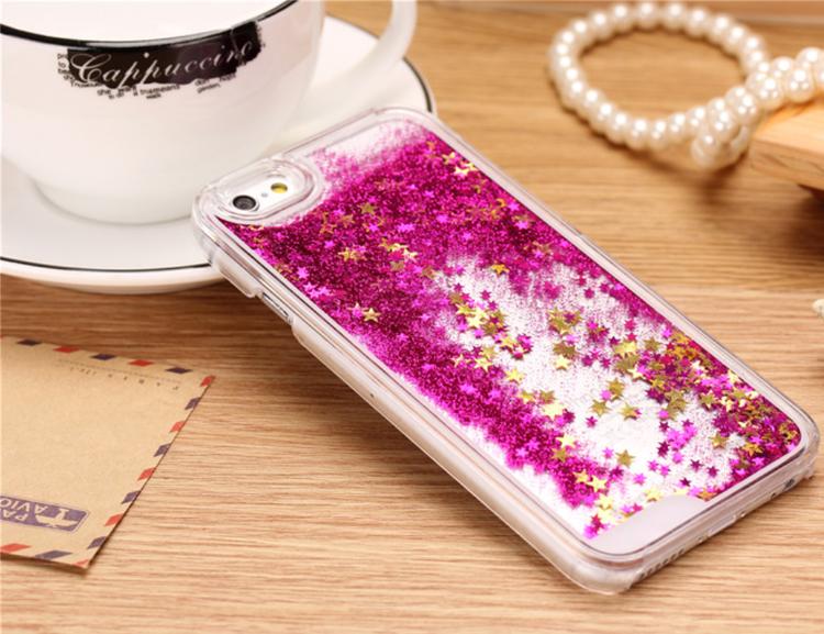 Glitter Skal - Iphone 6/6S  - Rörelse - MörkRosa