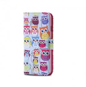 Plånbok - Iphone 6/6S - Ugglor - Färgglada - Ljusblå