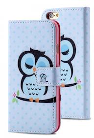 Plånbok - Iphone 6/6S - Uggla på Pinne - Härligt Blå
