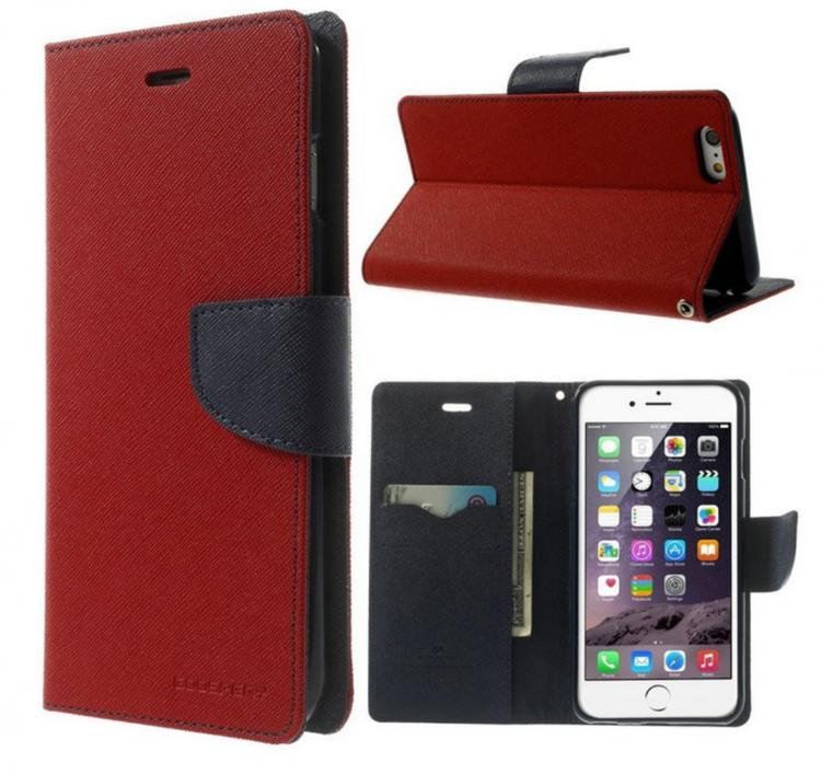 Plånbok - Iphone 6 6S - Mercury -Goospery - Röd Blå - billigamobilskal 79ee93f7121a3