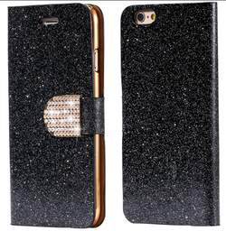 Iphone 5/5S/SE  - Plånbok Glitter -Gnistrande Stenar - Svart