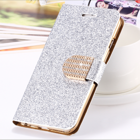 Iphone 5/5S/SE  - Plånbok Glitter -Gnistrande Stenar - Silver