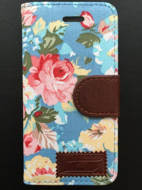 Iphone 5/5S/SE - Plånbok - Blommor - Ljusblå