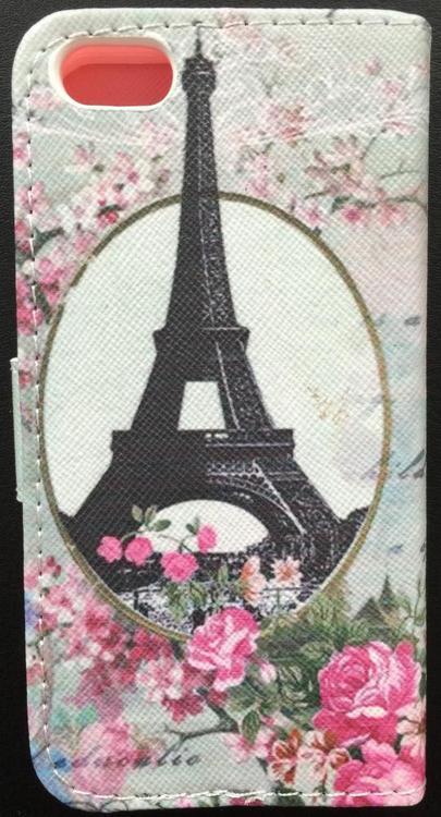 Iphone 5/5S/SE  - Plånbok - Eiffeltornet - Rosor