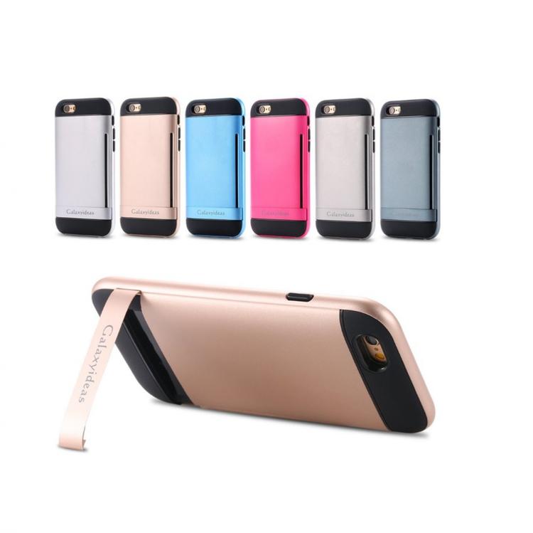 Iphone 6 / 6S - Skal Gummerat - Korthållare - Rosa