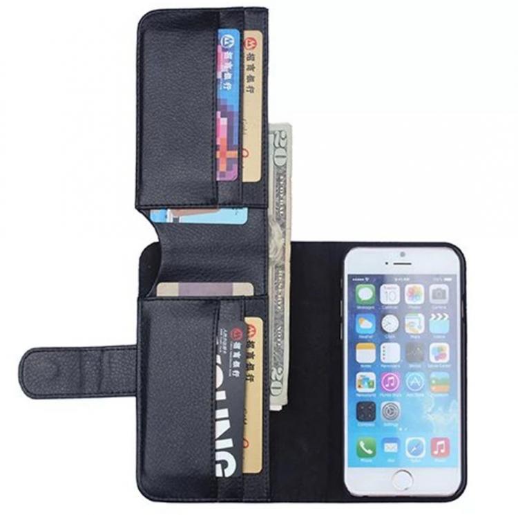 Iphone 6 / 6S - Plånbok - Fodral-kortfack -Sedelfack - Svart