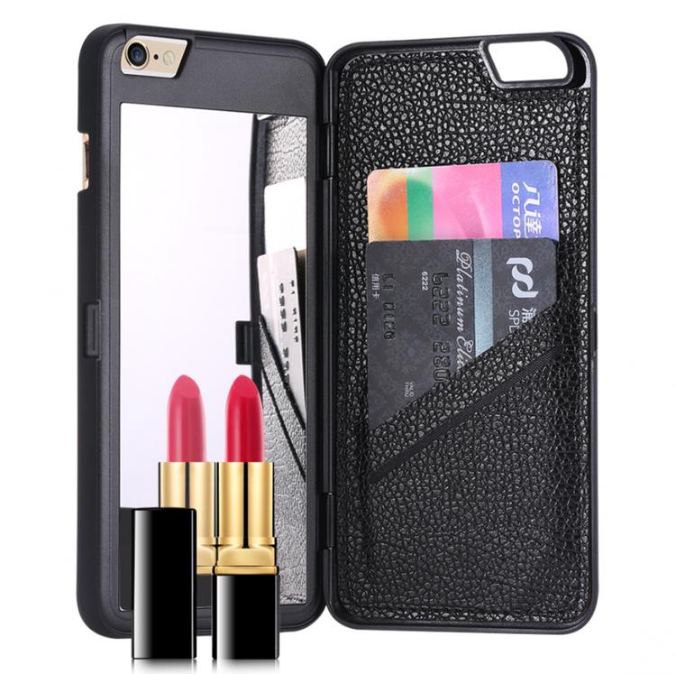 Iphone 7/8 Fodral - Spegel - Lucka -  korthållare - Svart