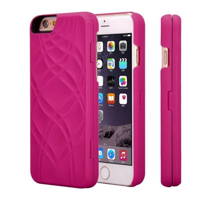 Iphone 7/8 Fodral - Spegel - Lucka -  korthållare - Rosa
