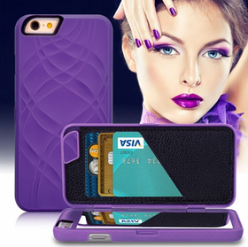 Iphone 7/8 Fodral - Spegel - Lucka -  korthållare - Lila