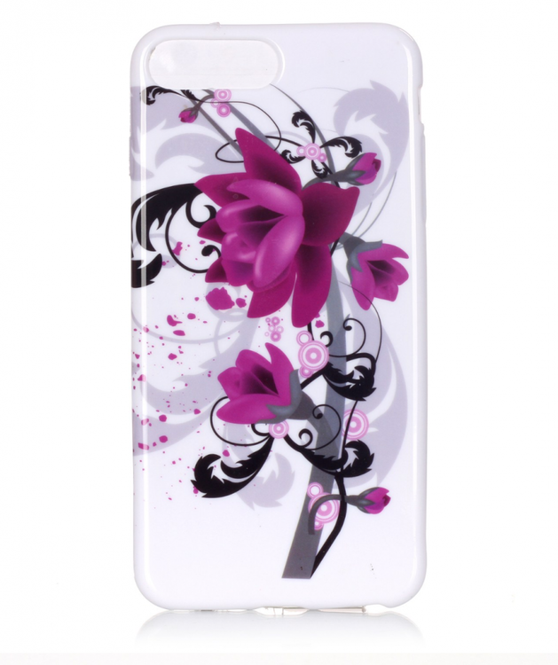Iphone 7/8  Skal - Blommor - Lila / Svart -  TPU