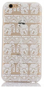 Iphone 5C Skal - Elefanter- Aztek - Vit