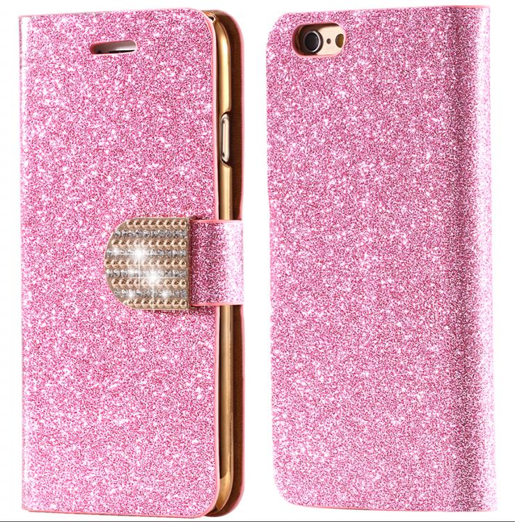 Iphone 7/8  - Plånbok Glitter -Gnistrande Stenar - Rosa