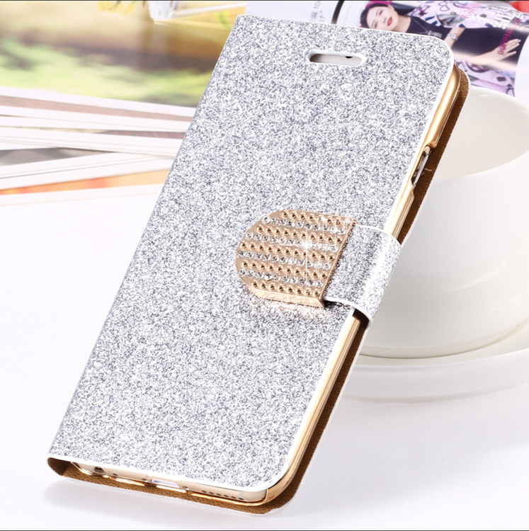 Iphone 7/8  - Plånbok Glitter -Gnistrande Stenar - Silver