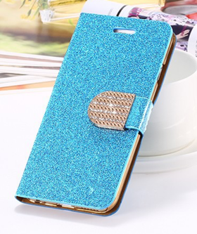 Iphone 7/8  - Plånbok Glitter -Gnistrande Stenar -Blå