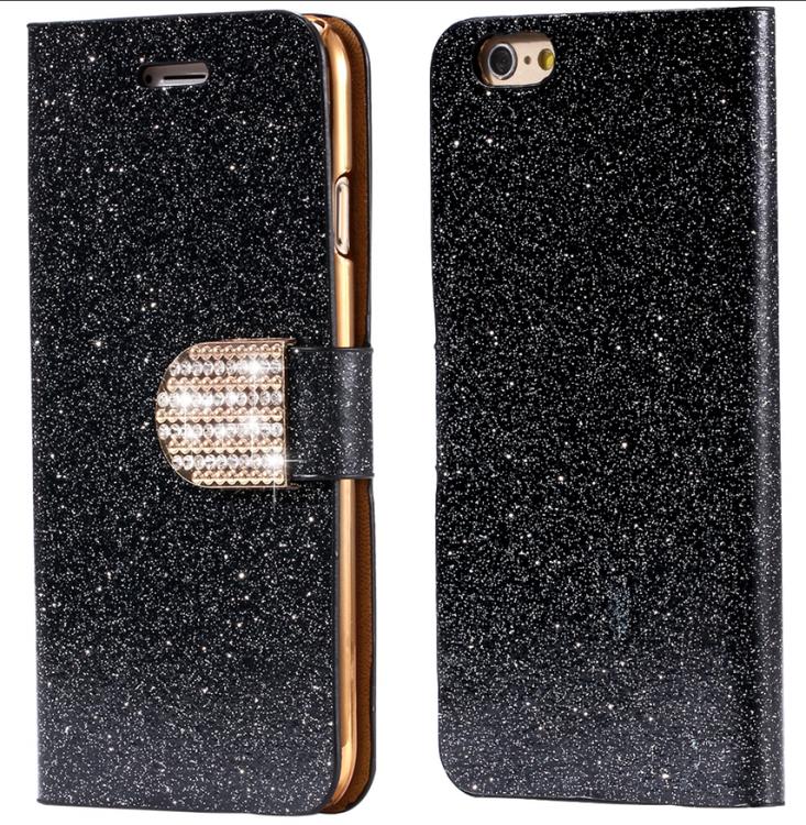 Iphone 7/8  - Plånbok Glitter -Gnistrande Stenar -Svart