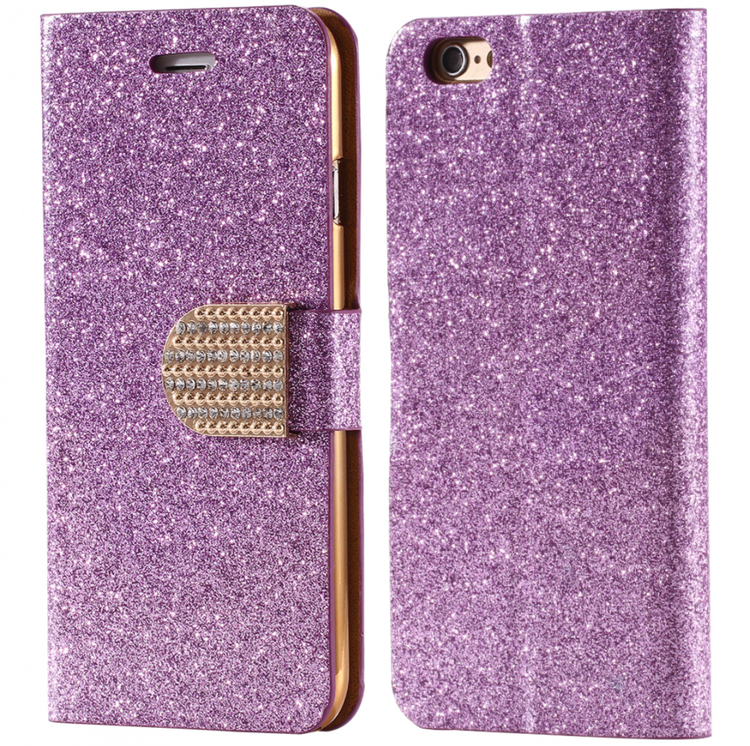 Iphone 7/8  - Plånbok Glitter -Gnistrande Stenar -Lila