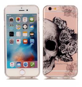 Iphone 6 / 6S Skal -Döskalle & Ros - Mjukt