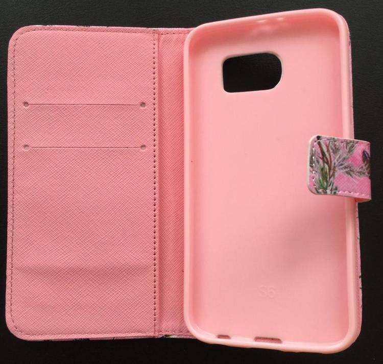 Samsung Galaxy S6 Plånbok - Motiv -Grenar & Löv - Rosa