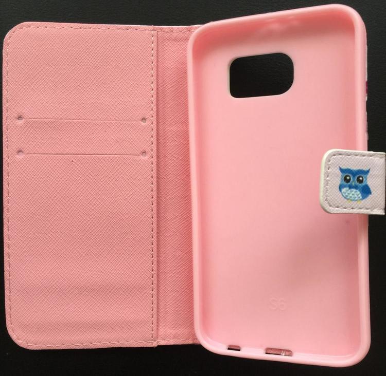 Samsung Galaxy S6 Plånbok - Motiv -Uggefamilj På Pinne - Ljusrosa