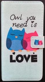 Samsung Galaxy S6 Plånbok - Motiv - Uggla - Love - Ljusblå