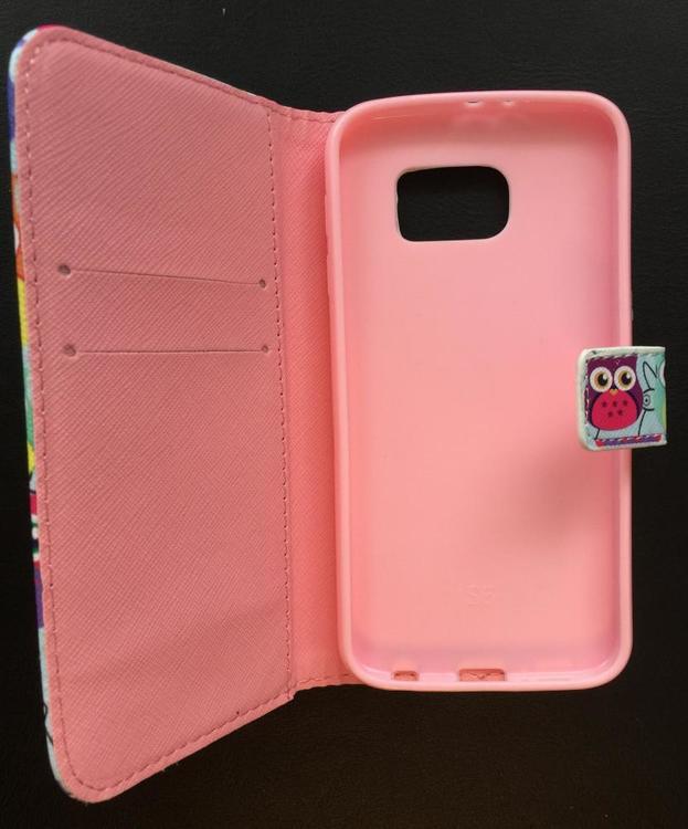 Samsung Galaxy S6 Plånbok - Motiv -Ugglor - Ljusblå