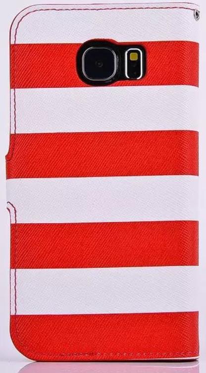 Samsung Galaxy S6 - Plånbok -Randig - Ankare - Röd/Vit