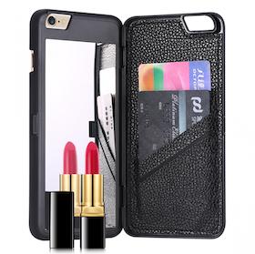 Iphone 6 / 6S Fodral - Spegel - Lucka -  korthållare - Svart