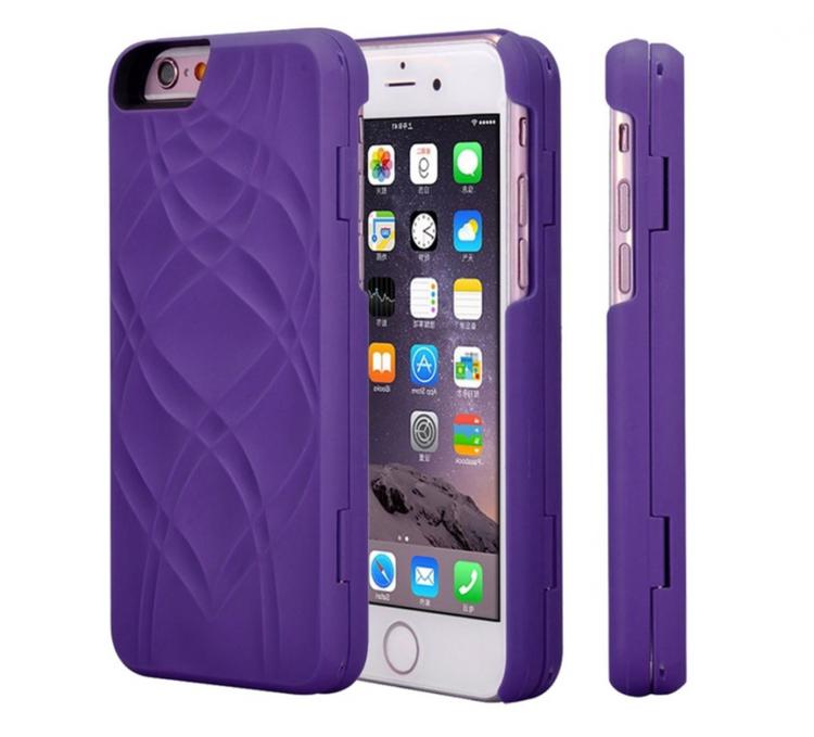 Iphone 6 / 6S Fodral - Spegel - Lucka -  korthållare - Lila