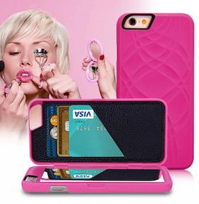 Iphone 6 / 6S Fodral - Spegel - Lucka -  korthållare - Rosa