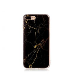 Iphone 5C  - Marble - Marmor Case- SvartGuld - Mjukt