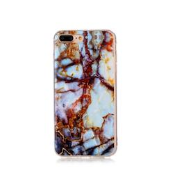 Iphone 7/8  - Marble - Marmor Case- Ljusblå / Koppar - Mjukt