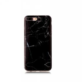 Iphone 7/8  - Marble - Marmor Case- SvartSilver - Mjukt