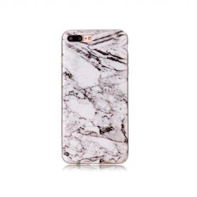 Iphone 7/8  - Marble - Marmor Case- Vitsvart - Mjukt