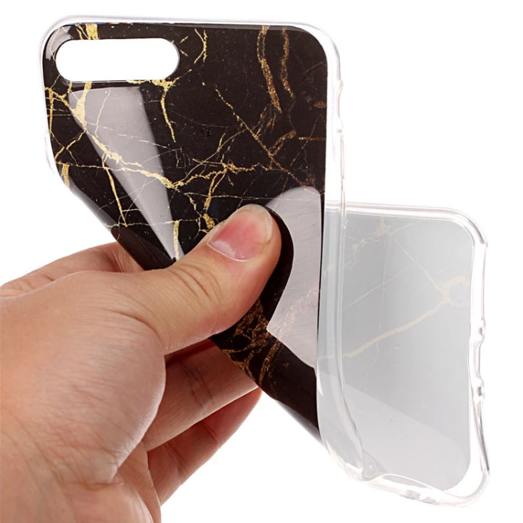 Iphone 7/8  - Marble - Marmor Case- SvartGuld - Mjukt