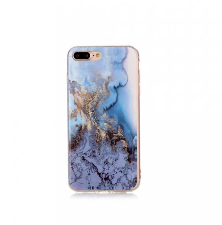 Iphone 7/8  - Marble - Marmor Case- BlåGuld - Mjukt