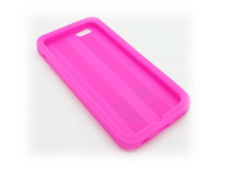 Iphone 6/6S Mobilskal - Randig - Mjukt Gummi - Rosa