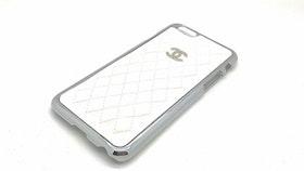 Iphone 6/6S Skal - Quiltad Konstläder - Silver - Vit - Lyx