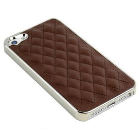 Iphone 5/5S Skal -Quiltad - Silver / Brun