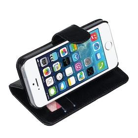 Iphone 5/5S - Plånbok - Konstläder - Svart