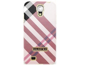 Samsung Galaxy S4 Skal -Rutig - Rosa - Guldkant