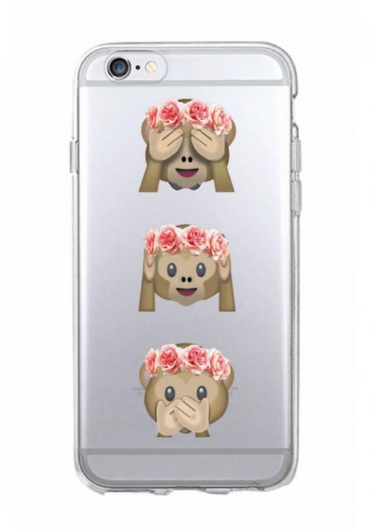 Iphone 7/8 Plus Skal - Emoji  -Tre Apor - Mjukt