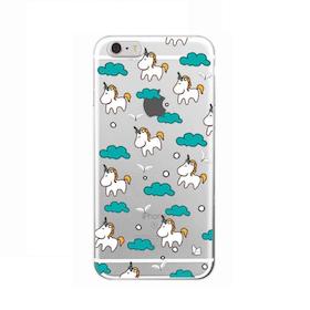 Iphone 6 / 6S Skal - Unicorn - Turkosa Moln - Mjukt