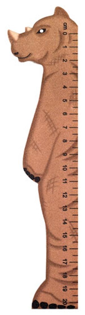 Bokmärke Linjal vilda djur Noshörning